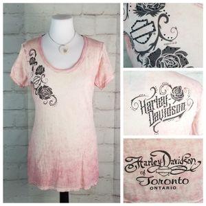 Harley-Davidson M Pink & Cream Cap Sleeve T-Shirt